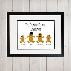 Gingerbread Christmas Personalised Family Print