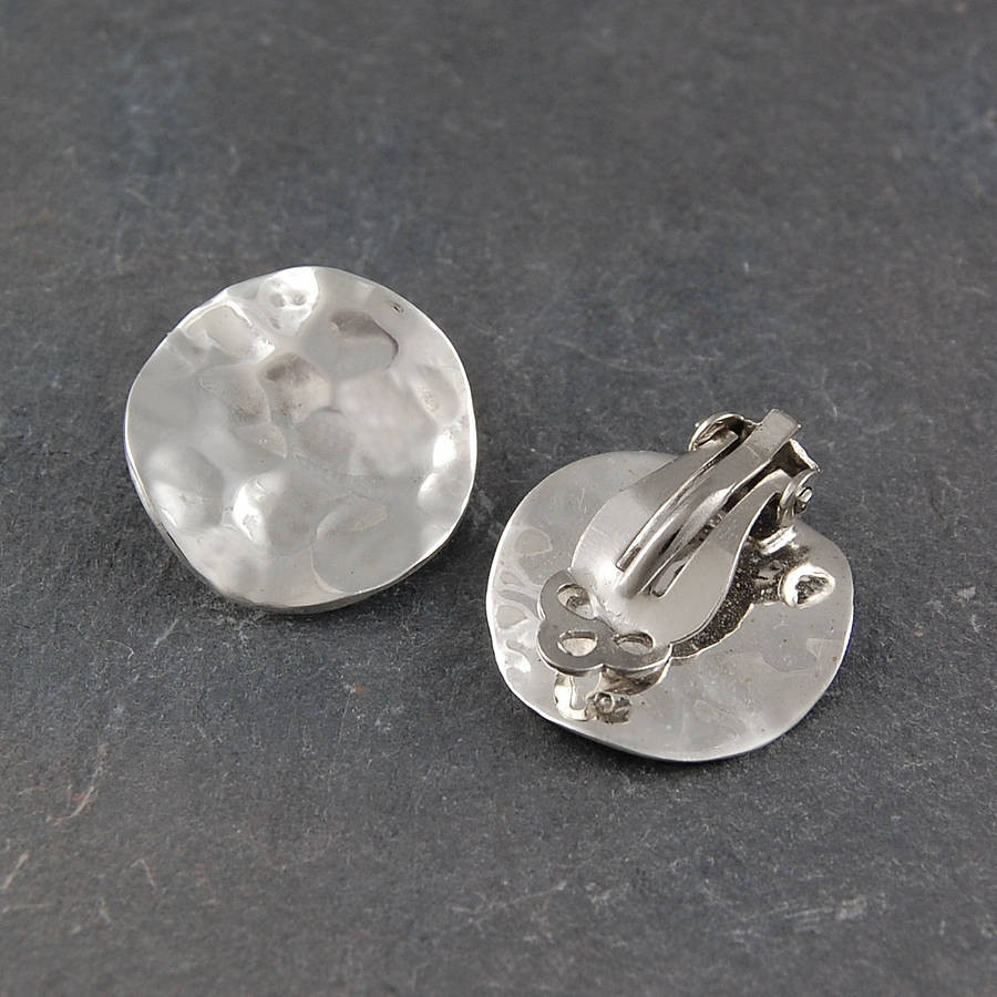 Clip On Battered Sterling Silver Earrings