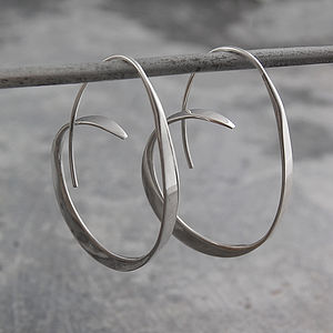 Tapered Sterling Silver Hoops - earrings