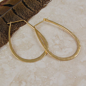 Battered Gold Small Oval Hoop Earrings