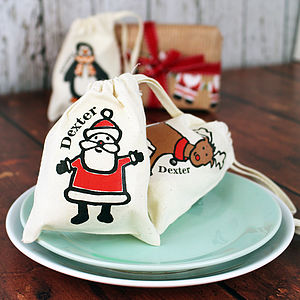 Personalised Christmas Character Mini Bag - ribbon & wrap