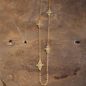Lattice Charms Asymetric Layering Gold Chain - necklaces & pendants