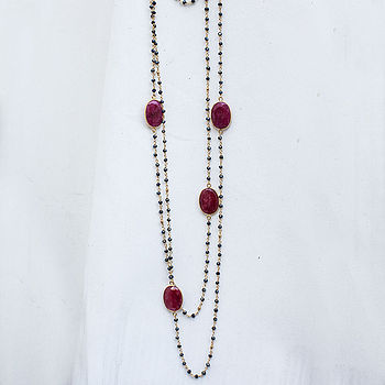 Ruby And Black Spinel Gold Long Layering Necklace
