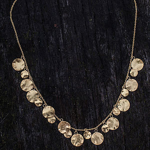 Gold Hammered Disc Necklace - necklaces & pendants