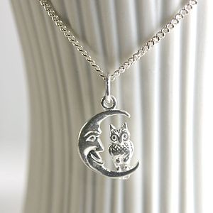 Sterling Silver Owl And Moon Necklace - necklaces & pendants