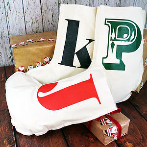 Personalised Initial Christmas Stocking - cards & wrap