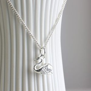 Sterling Silver Swan Charm Necklace - necklaces & pendants