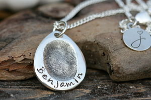 Fingerprint Teardrop Necklace - gifts from younger children