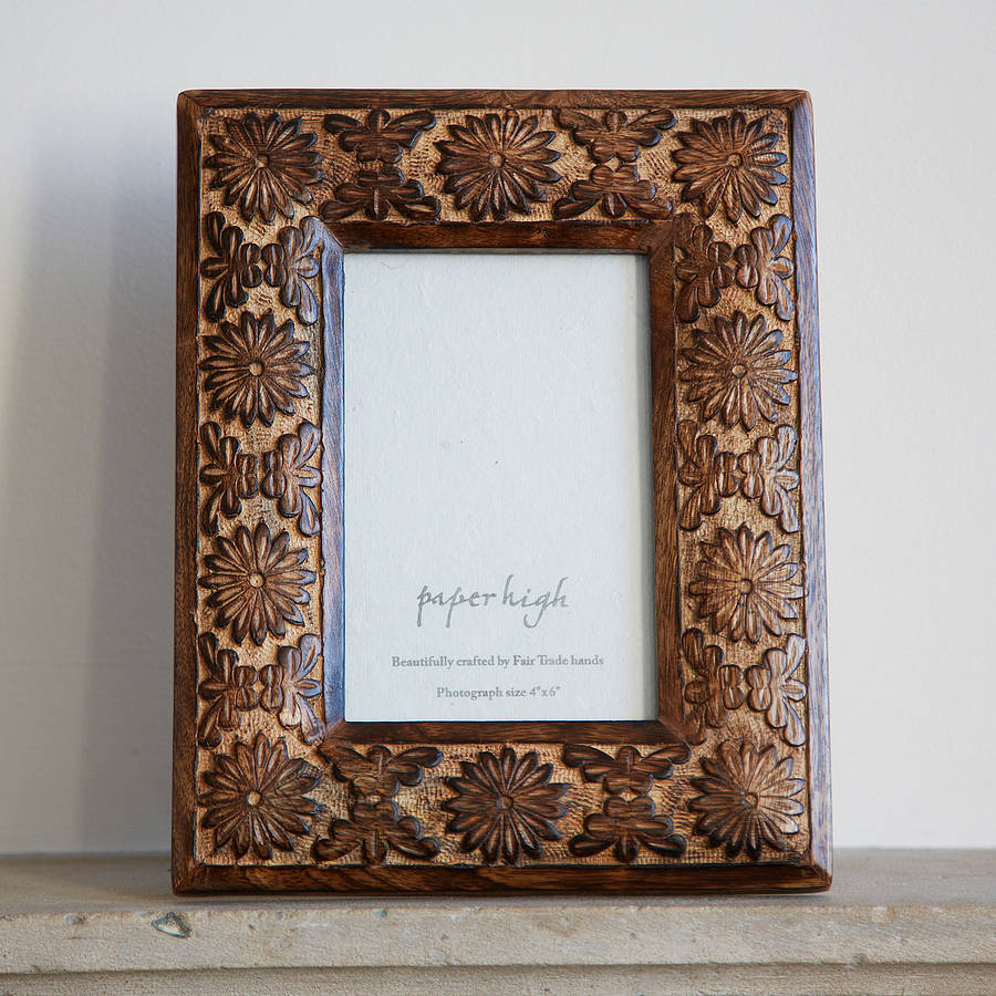 asali carved mango wood photo frame by paper high  notonthehighstreet ...