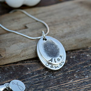 Duo Oval Fingerprint Necklace - personalised gifts