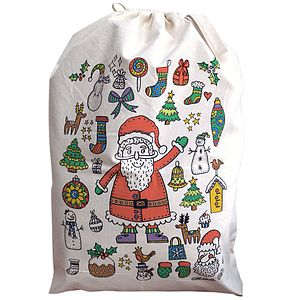 Colour In Santa Christmas Sack - create your own decorations