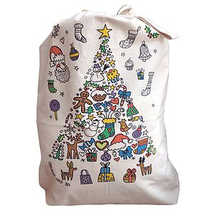 Colour In Tree Christmas Sack - stockings & sacks