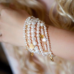 Amira Seven Row Pearl And Gold Bracelet - bracelets & bangles