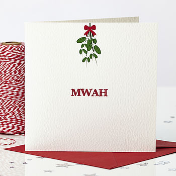 'Mwah' Mistletoe Christmas Card