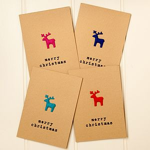 Festive Felt Stag Reindeer Christmas Card - shop by category