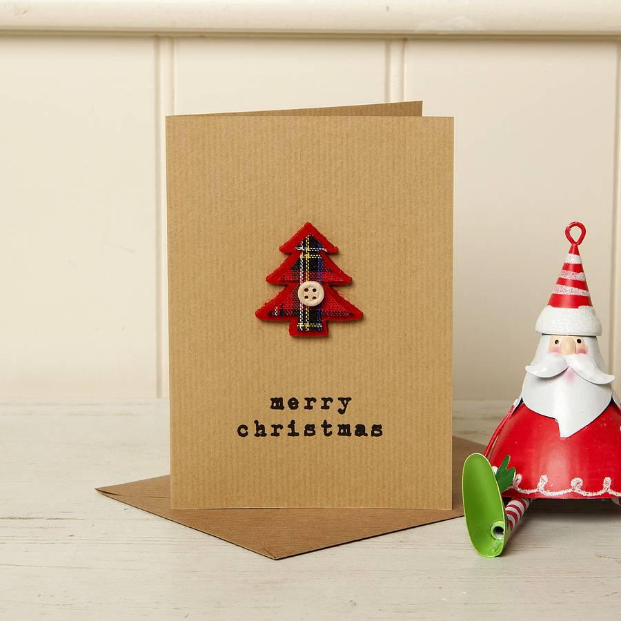Button Christmas Trees: Festive Tartan Button Christmas Tree Card By Lovely Jubbly