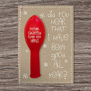 'Please Stop Here' Balloon Christmas Card