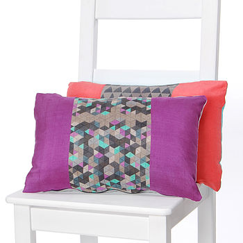 Geo Stripes Silk Cushion Plum