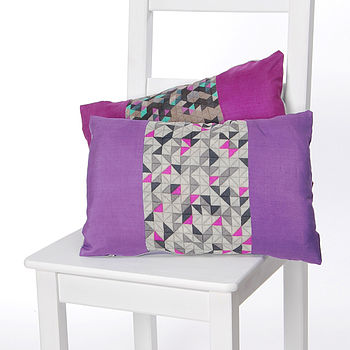Geo Stripes Silk Cushion Violet