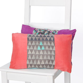 Geo Stripes Silk Cushion Coral