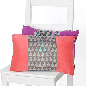 Geo Stripes Silk Cushion Coral - patterned cushions