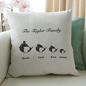Personalised 'Birdie Family' Cushion - gifts for families