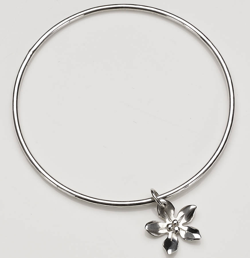 153afb6d9c7 silver wildflower charm bangle by anne reeves jewellery ...