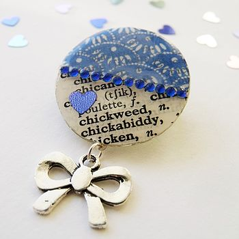 Royal Blue Upcycled Vintage Paper Brooch