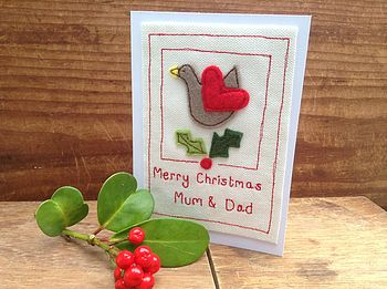 Embroidered Robin Christmas Card