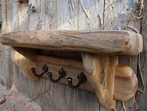 Hand Crafted Sycamore Shelf - hooks, pegs & clips