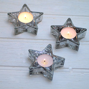 Set Of Three Glass Star Tealight Holders - candles & candlesticks