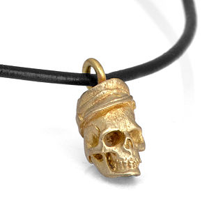 Brass Civil War Hat Skull Pendant - men's jewellery