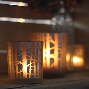 Frosted Glass Tea Light Holder With Branches - christmas lights