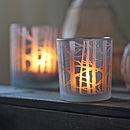 Frosted Glass Tea Light Holder With Branches