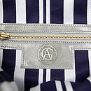 Buu Leather Shoulder Bag: Blue Stripe Lining