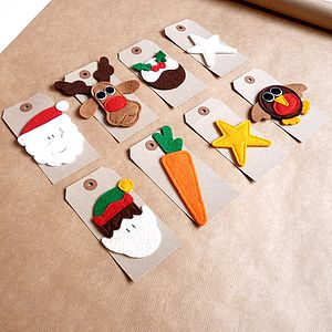 Christmas Gift Tag With Handmade Felt Design - gift tags & labels