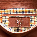 Ivy Leather Clutch Bag: Plaid Lining