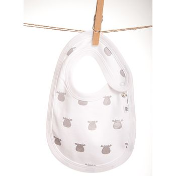 White Bib With Grey Solid Cow Print