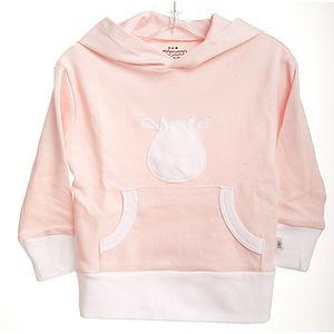 Pink Long Sleeve Hoodie With Cow Applique