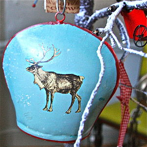 Christmas Blue Reindeer Cow Bell - tree decorations