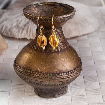 Matt Gold Handcarved Lantern Drop Earrings