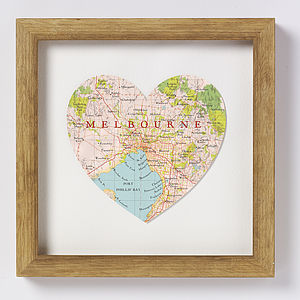 Melbourne Map Heart Print - posters & prints