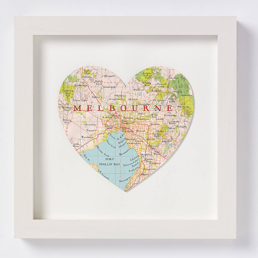 melbourne map heart print by bombus off the peg | notonthehighstreet.com