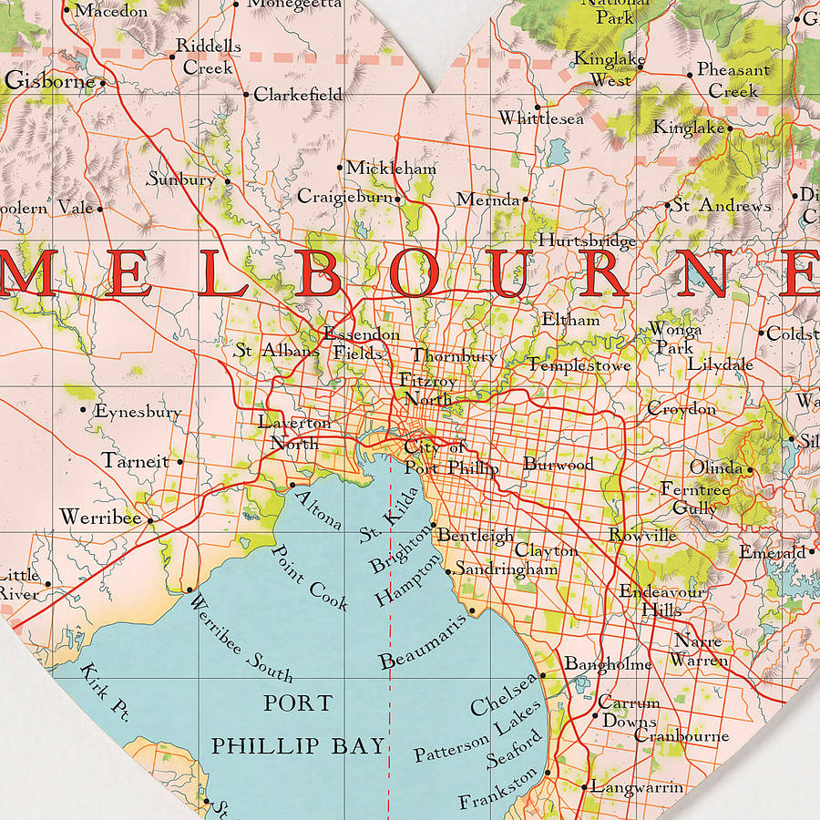 melbourne map heart print by bombus off the peg ...