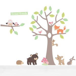 Pastel Forest Friends Fabric Wall Stickers - children's decorative accessories