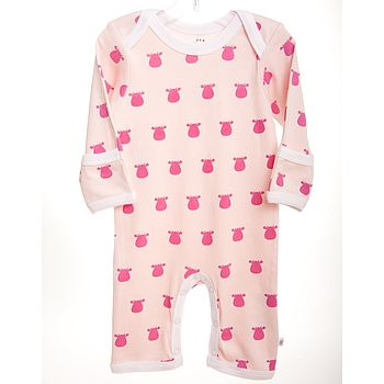 Pink Baby Romper With Solid Cow Design