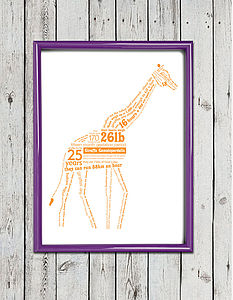 Giraffe Facts Typographic Screen Print