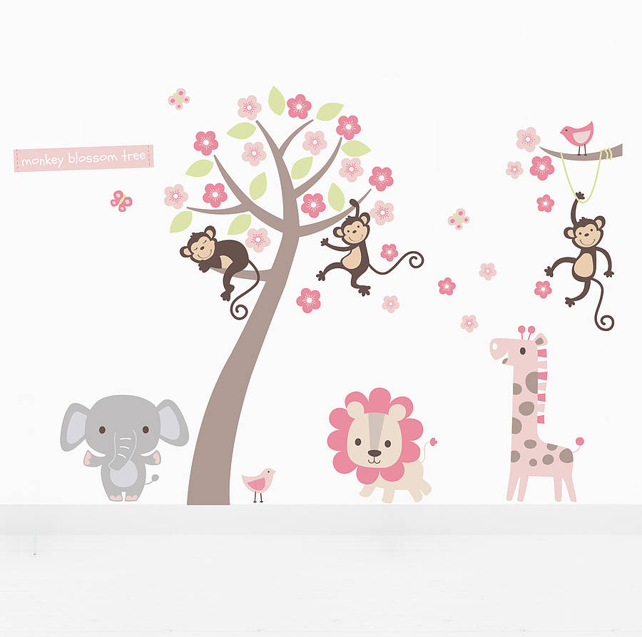 Pastel blossom tree with animals wall sticker by parkins interiors pastel blossom tree with animals wall sticker amipublicfo Image collections
