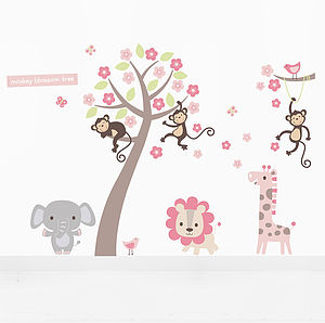Pastel Blossom Tree With Animals Wall Sticker - wall stickers