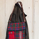 Dog walker's bag with treat bag Harris Tweed and leather